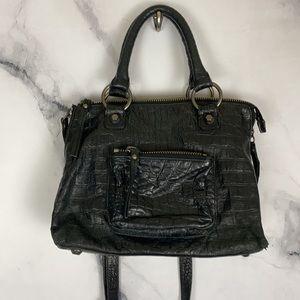 LINEA PELLE black mock croc leather handbag